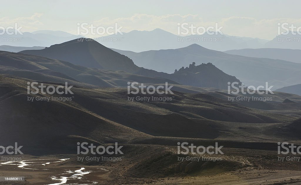 Afghanistan landscape at dawn stock photo