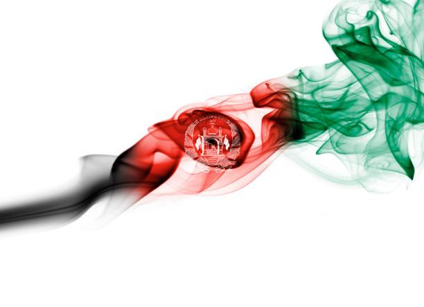 Bandeira do Afeganistão fumaça - foto de acervo