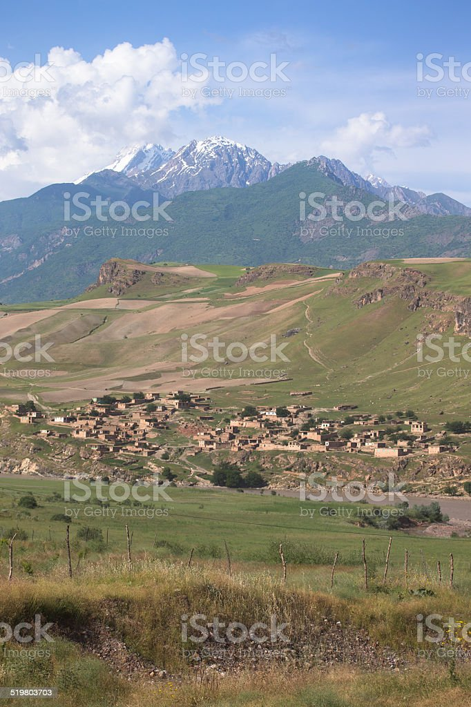 Afghanistan, village and mountains from Tajikistan. vertical fra stock photo