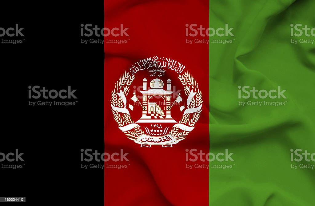 Afghanistan waving flag stock photo
