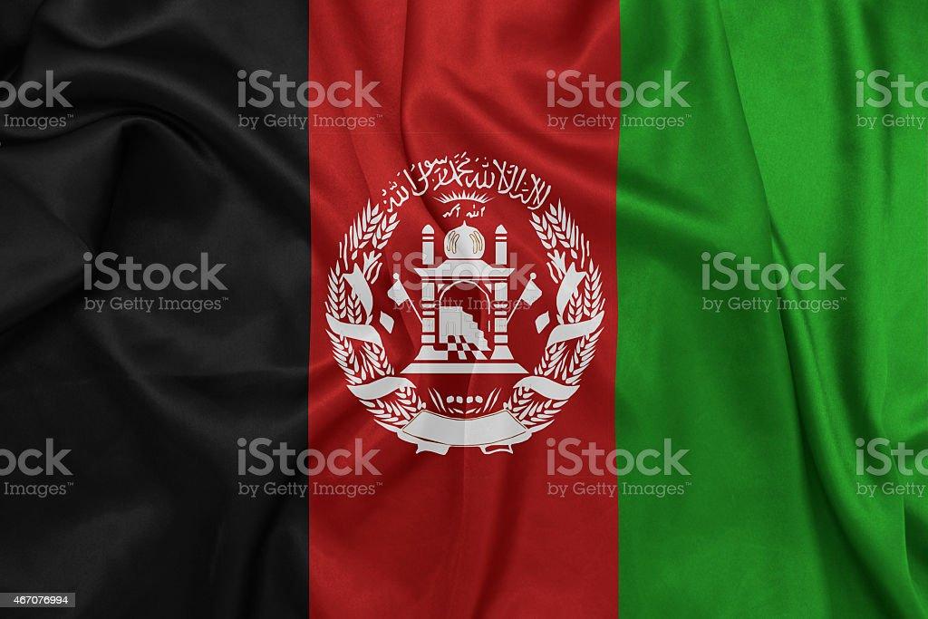 Afghanistan - Waving national flag on silk texture stock photo