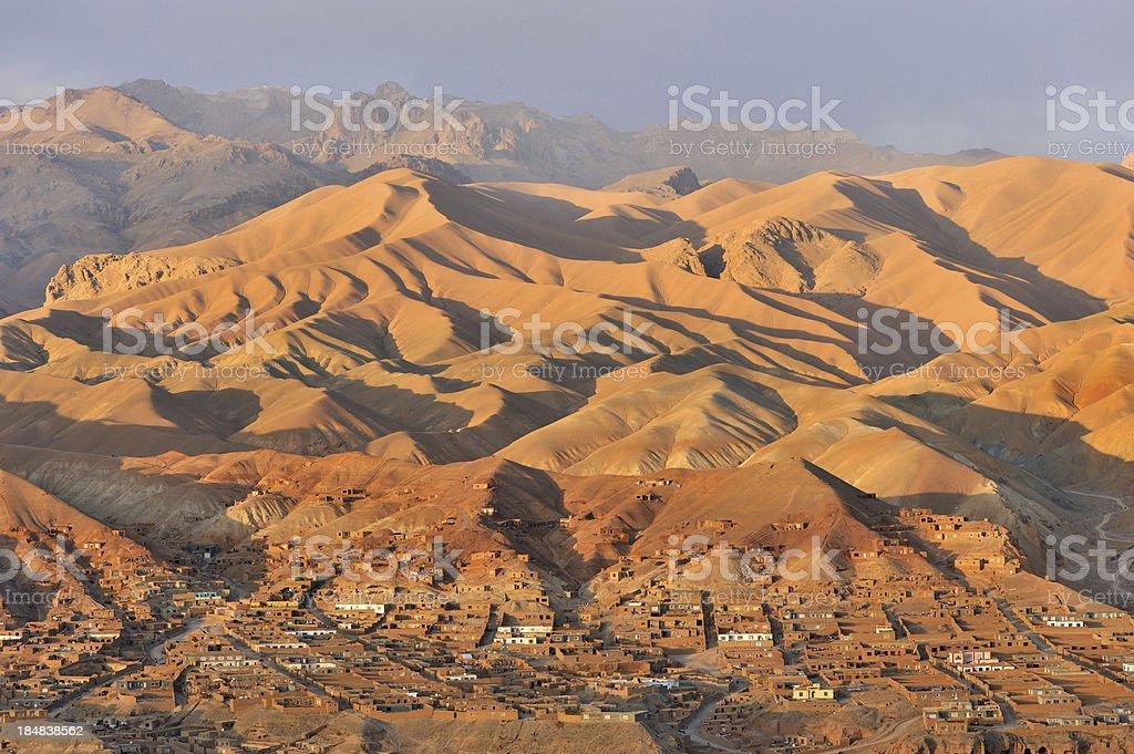 Afgnaistan village and landscape at sunset stock photo