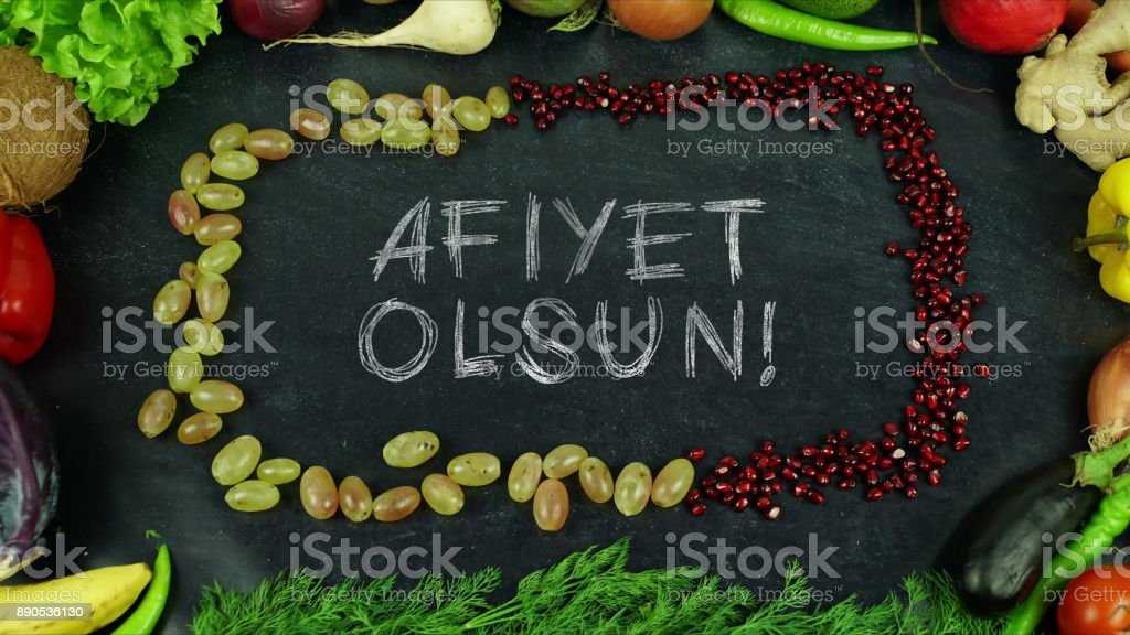 Afiyet olsun Turkish fruit stop motion, in English Bon appetit stock photo
