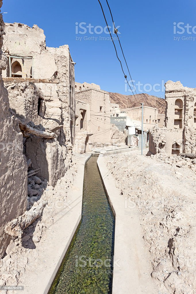 Aflaj Irrigation Systems in an Omani village stock photo