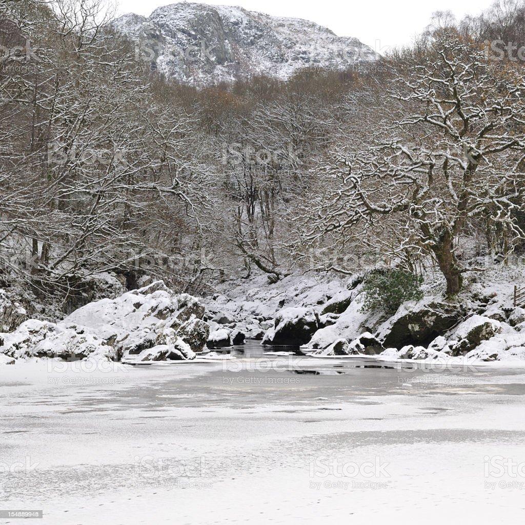 Afon Conwy Frozen stock photo