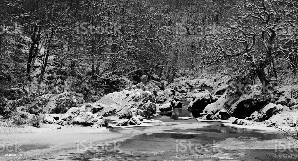 Afon Conwy in Winter stock photo