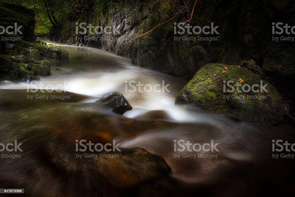 Afon Pyrddin river at Pontneddfechan stock photo