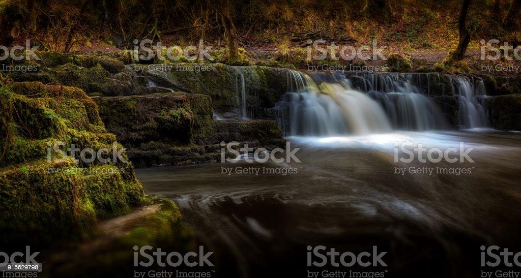 Afon Pyrddin waterfall Pontneddfechan stock photo