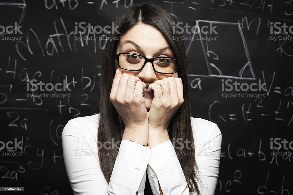 Afraid of exams stock photo