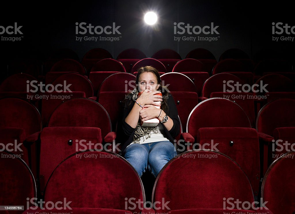 Afraid young woman stock photo