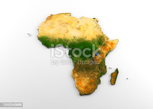 3D rendering of extruded high-resolution physical map (with relief) of the African continent, isolated on white background. Modeled and rendered with Houdini 16.5 Satellite image from NASA: https://visibleearth.nasa.gov/view.php?id=74092