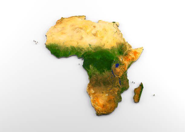 Africa 3D Physical Map with Relief 3D rendering of extruded high-resolution physical map (with relief) of the African continent, isolated on white background. Modeled and rendered with Houdini 16.5 Satellite image from NASA: https://visibleearth.nasa.gov/view.php?id=74092 east africa stock pictures, royalty-free photos & images