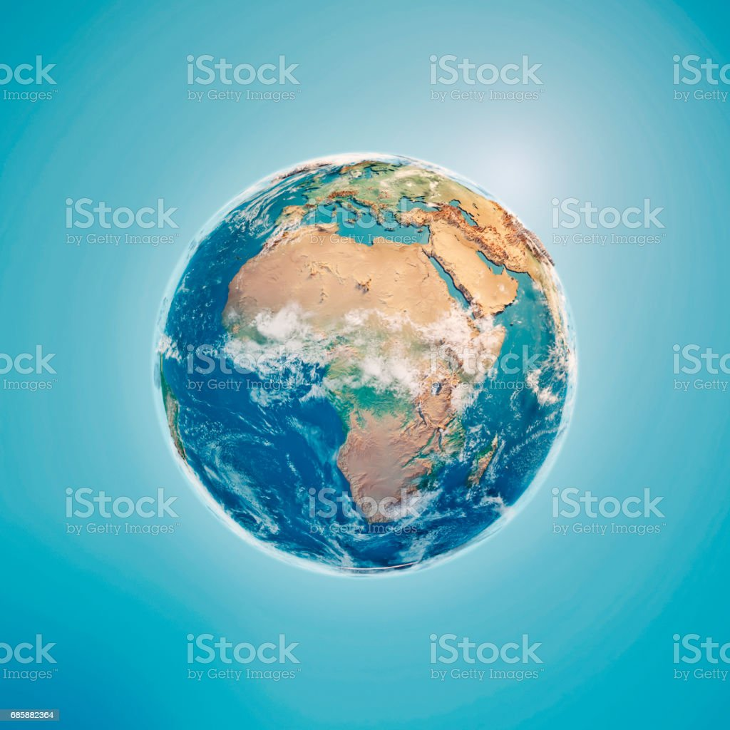 Africa 3D Render Planet Earth Clouds stock photo