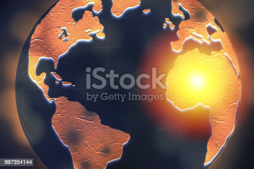 istock Africa highlighted on dark globe for internet connection and worldwide connection concept. 997354144