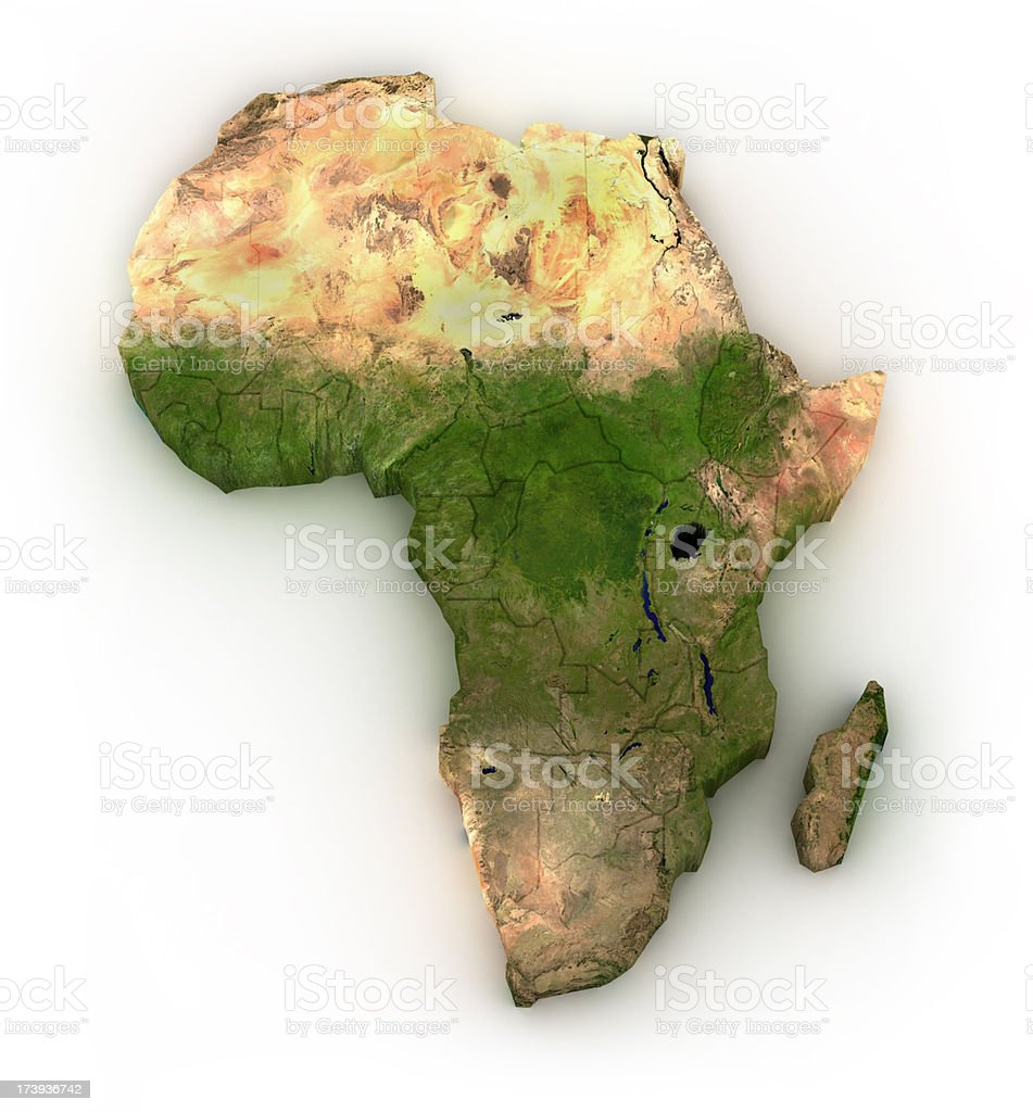 Africa - isolated on white stock photo