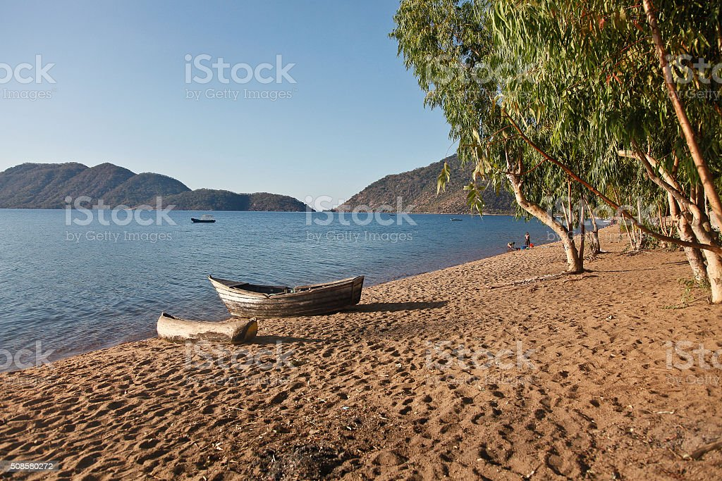 Africa Malawi Lake Malawi Canoe stock photo