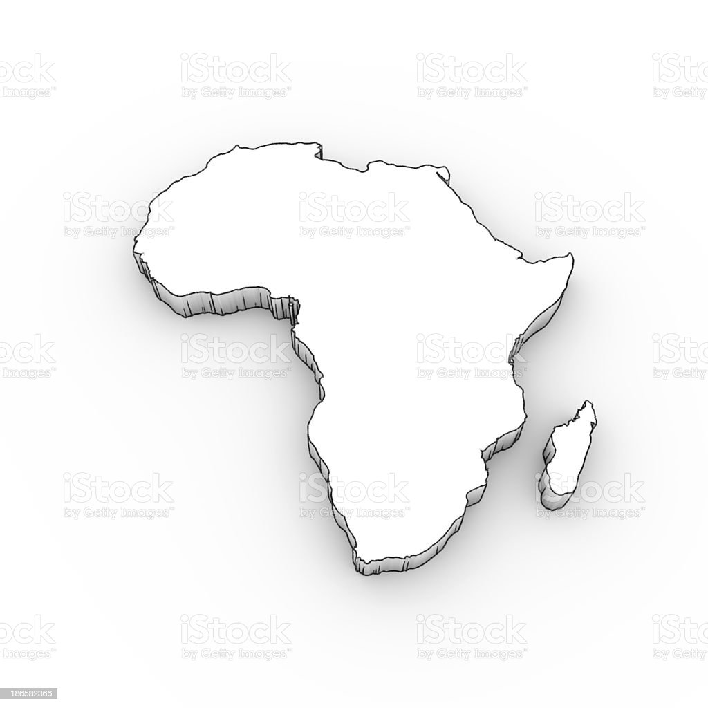 Africa Map 3D In White; Looks Like A Drawing Royalty Free Stock Photo