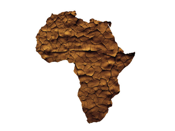 Africa map drought or waterless concept isolated stock photo