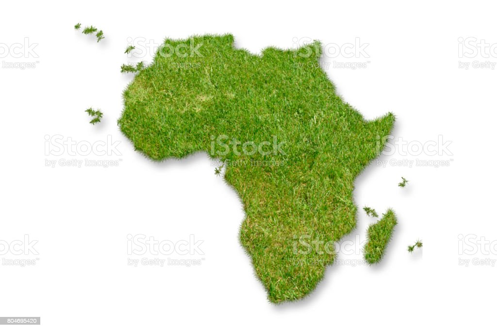 Africa map green grass stock photo