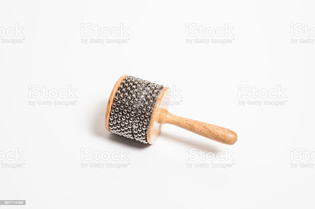 Africa Musical instrument cha cha on white background stock photo