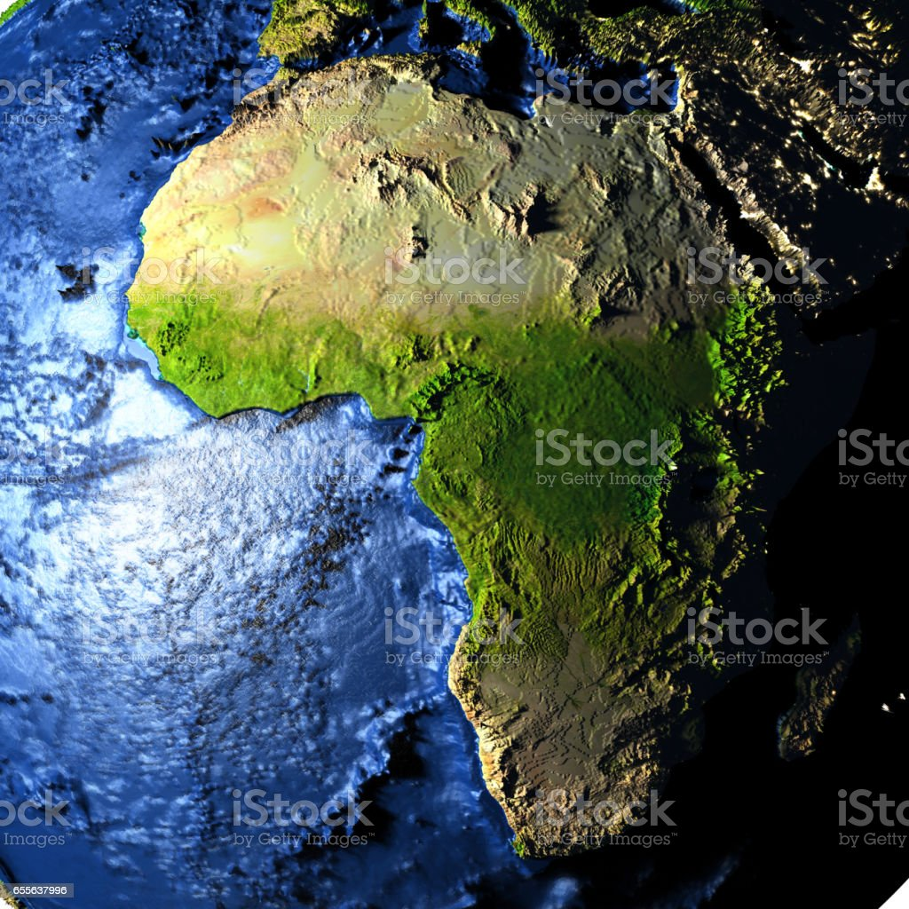 Africa on Earth with exaggerated mountains stock photo