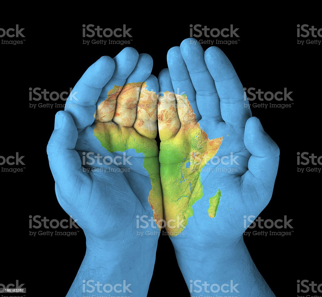 Africa painted on hands stock photo