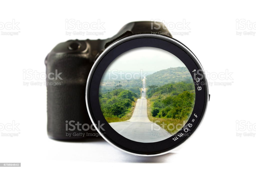 Africa Road Seen Through a Lens of a Camera royalty-free stock photo