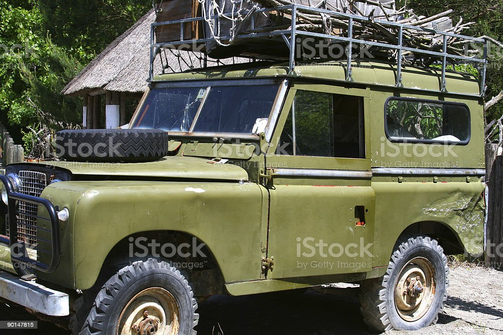 Africa Safari Gone Awry: Dented Jeep stock photo