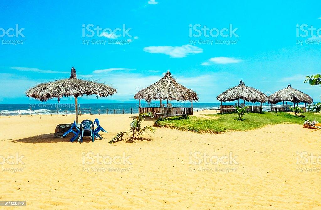 Africa. Sun-drenched beach in Monrovia, Liberia stock photo