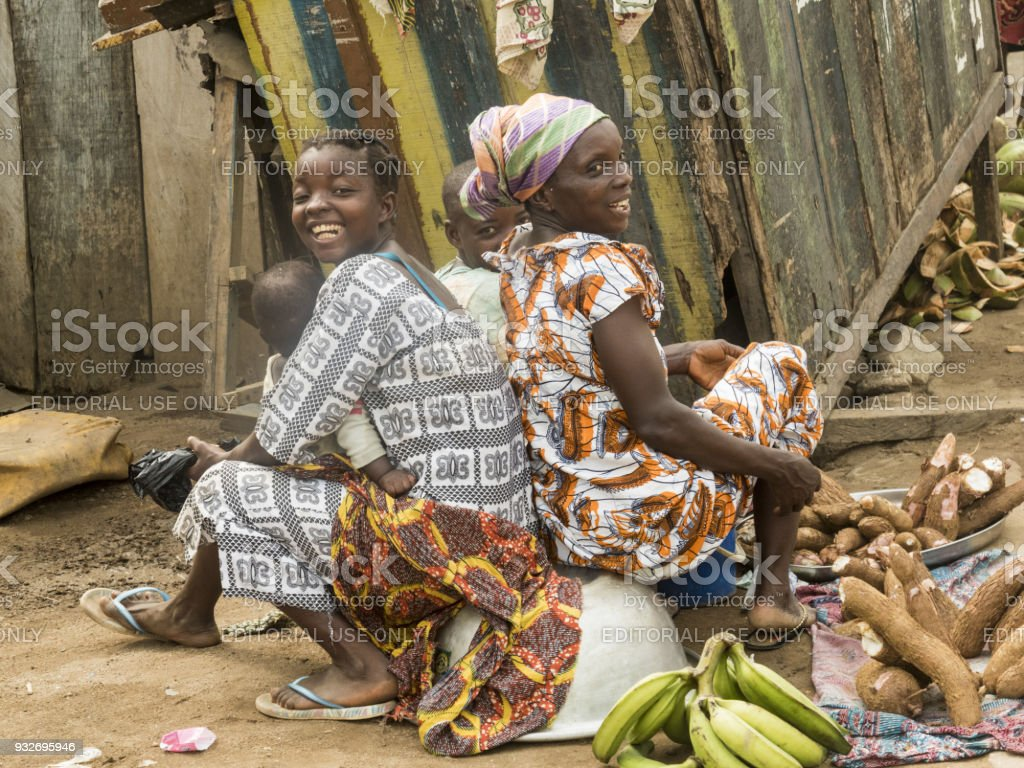 africam women at the market stock photo