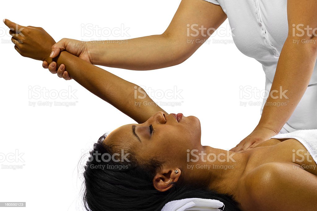 African Amercian Female Getting Physical Therapy stock photo