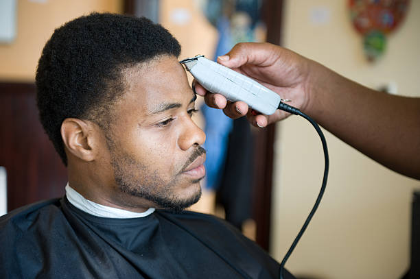 African American Barber Shop Shave and Haircut stock photo