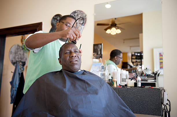 African American Barber Shop Shave stock photo