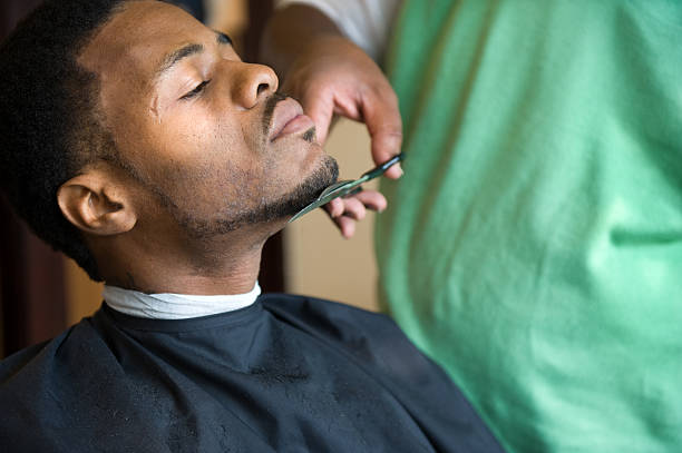 African American Barber Shop Trim stock photo