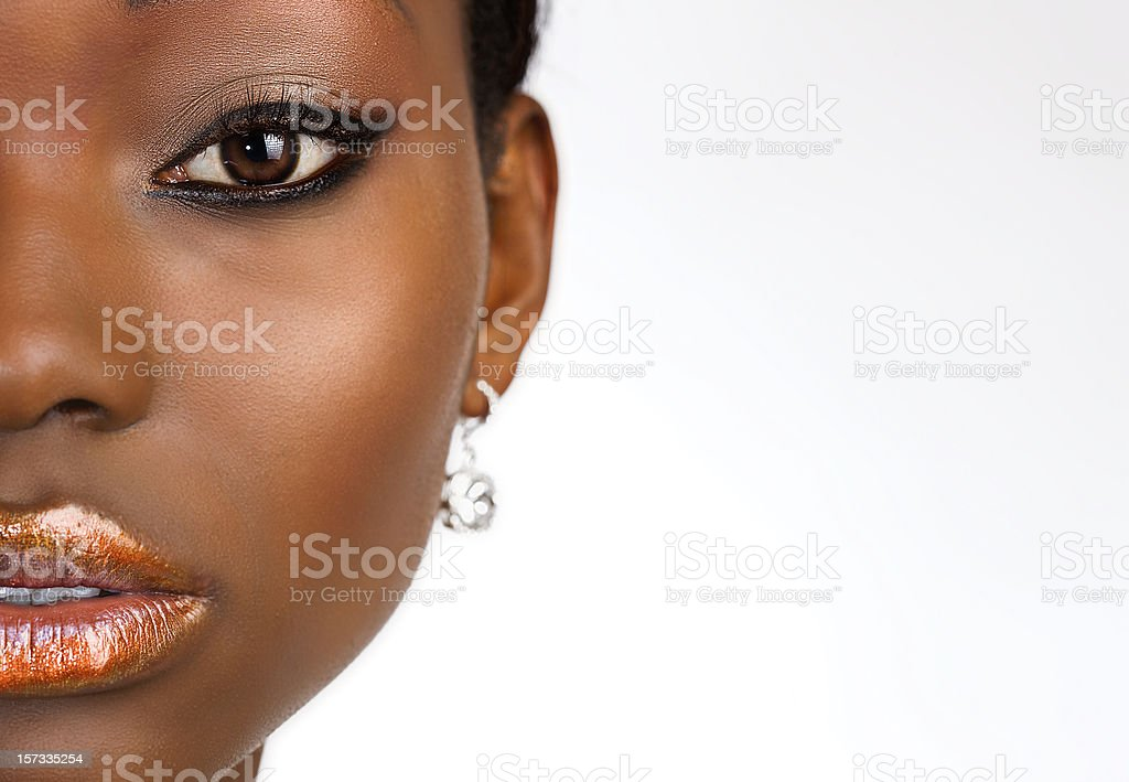 African American Beauty Portrait on White, Copy Space stock photo