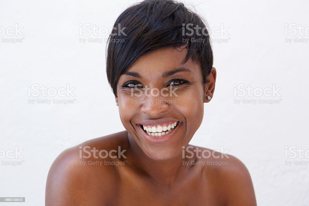 African american beauty smiling stock photo