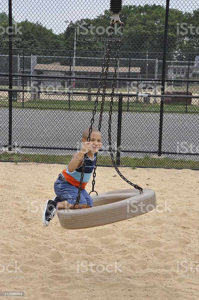 African American Biracial Child on Playground royalty-free stock photo