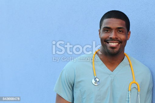 African American black health care professional with copy space.