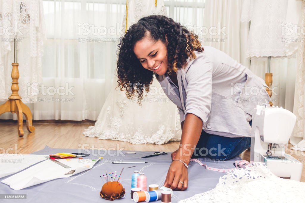African American Black Woman Fashion Designer Working At Workshop Studio Stock Photo Download Image Now Istock