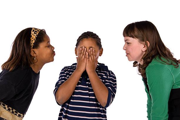 african american boy paura di essere baciato dal - kids kiss embarrassed foto e immagini stock