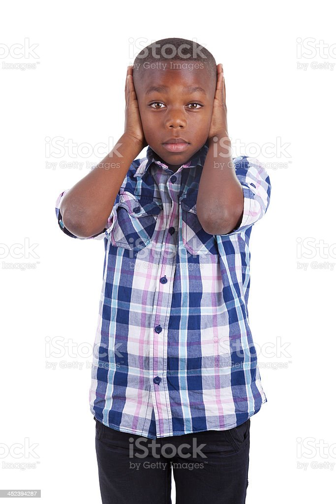 African American boy hiding ears  - Black people royalty-free stock photo