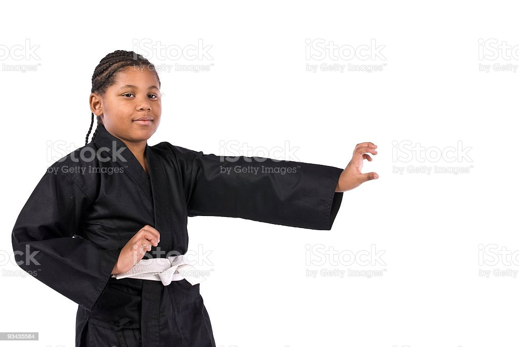 African American Boy Practices Karate stock photo