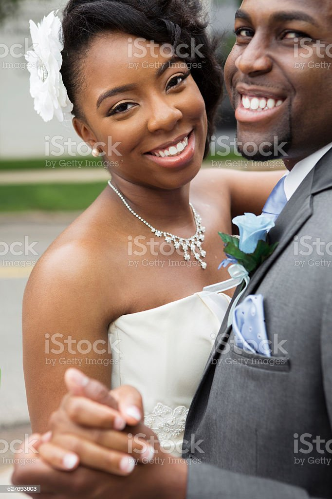 African American Bride and Groom stock photo
