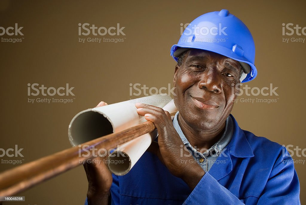 African American builder stock photo