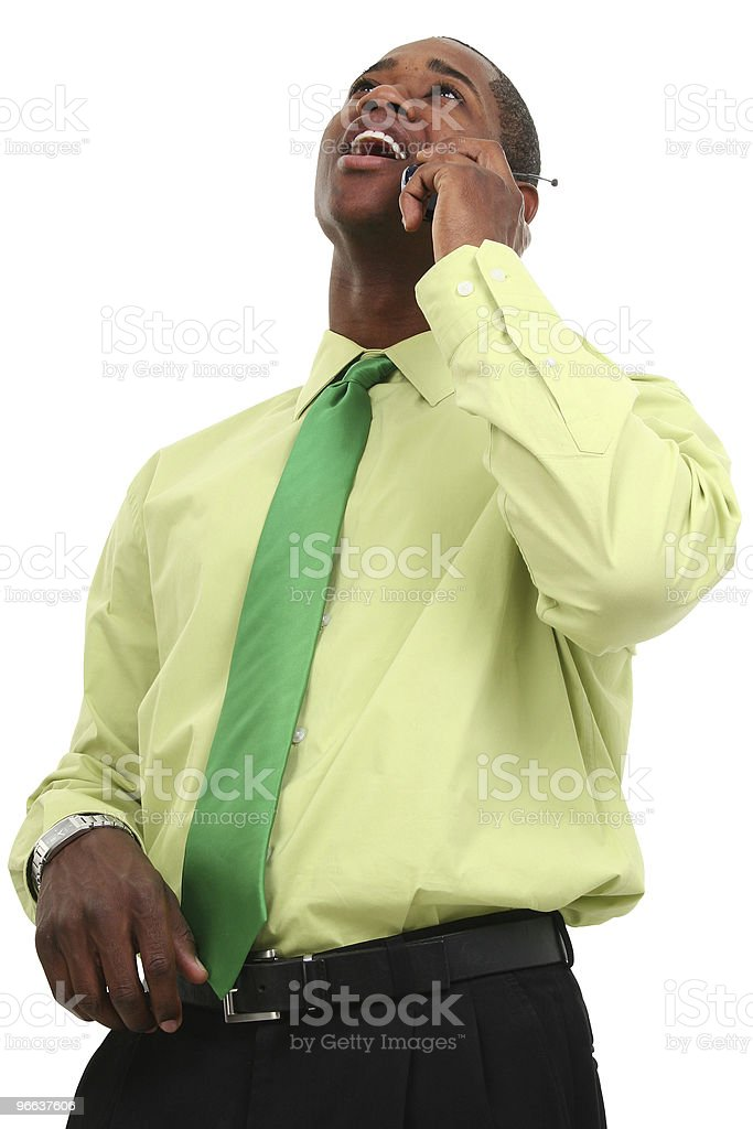 African American Business Man On Cellphone royalty-free stock photo