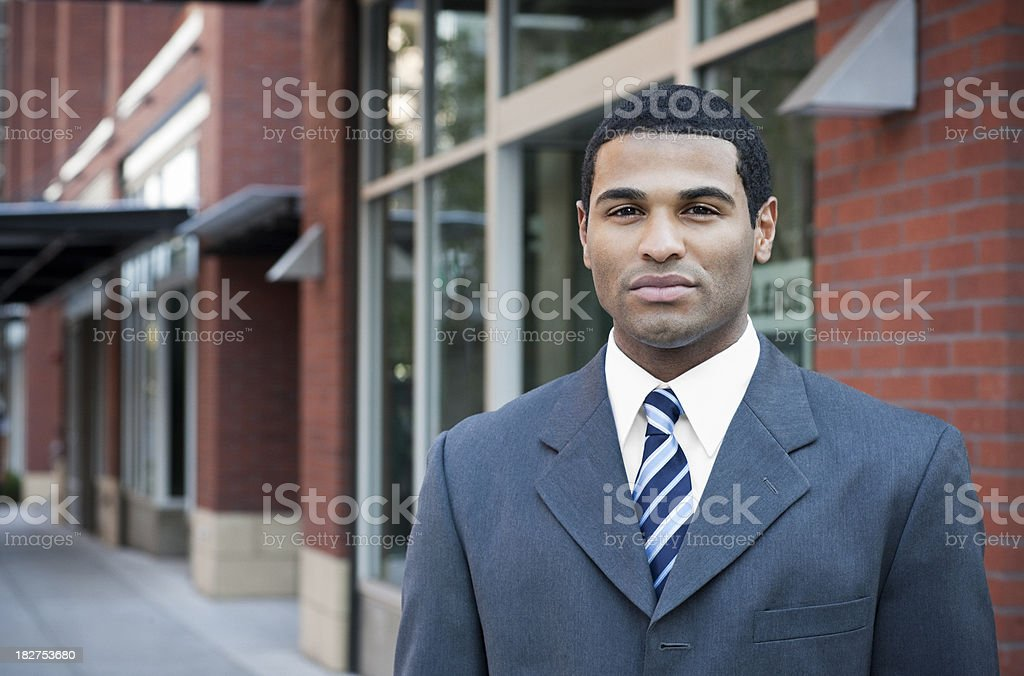 African American Business Man Outside a Building for Lease, Copyspace royalty-free stock photo