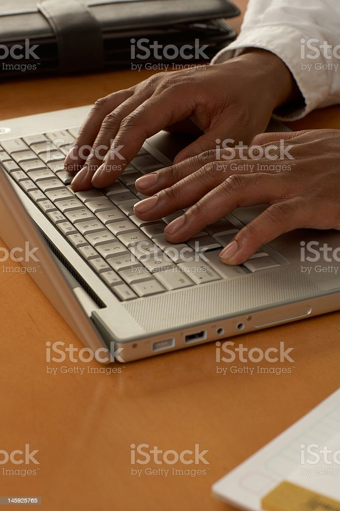African American Business Man typing royalty-free stock photo