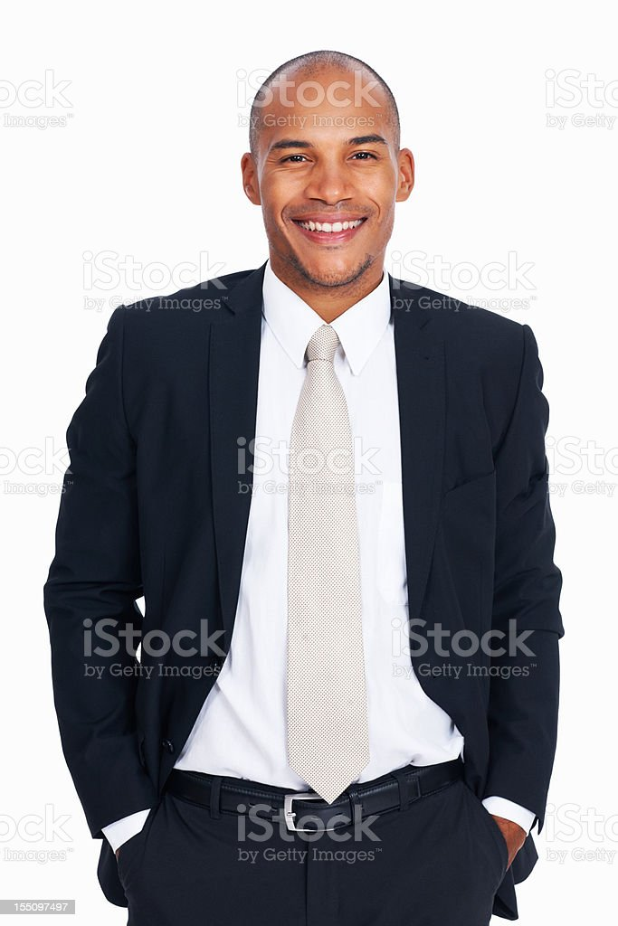 African American business man with hands in pockets stock photo