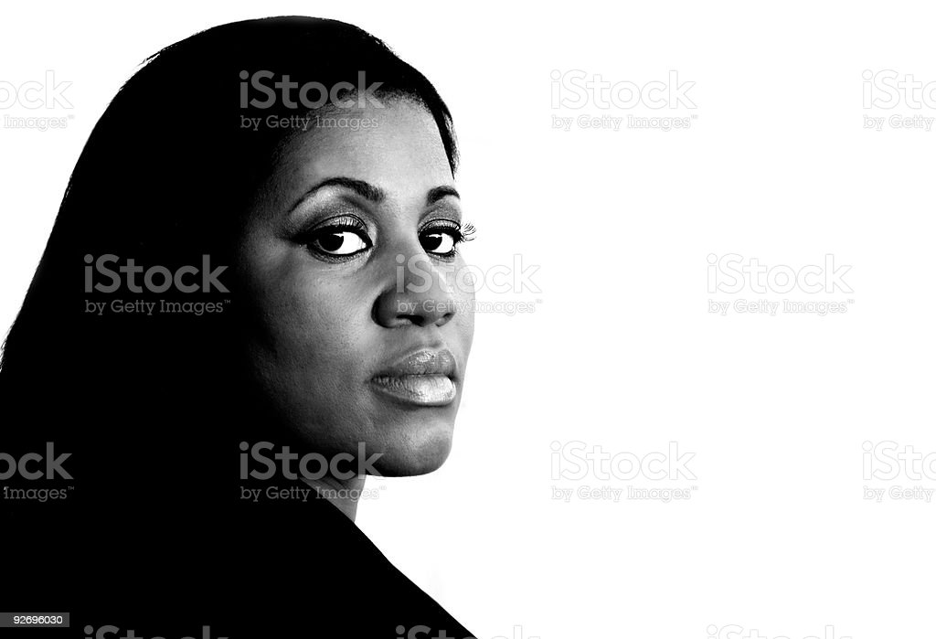 African American Business Woman by Industrial Building stock photo