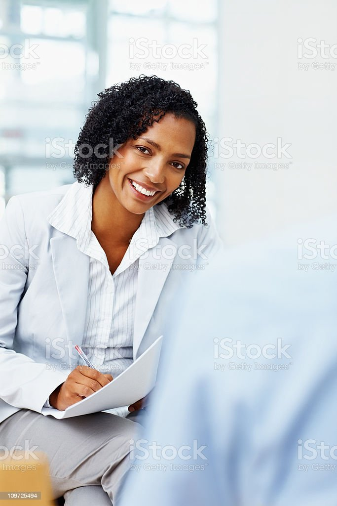 African American business woman smiling royalty-free stock photo